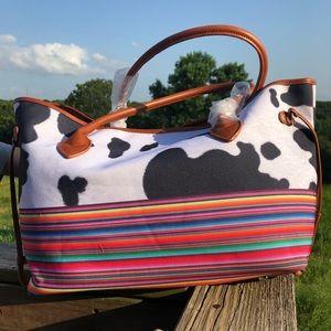 Handbags - Canvas Cow Print/Serape Tote